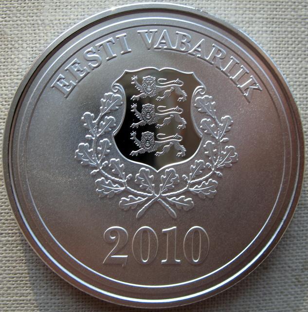 Серебрянная монета 10 крон эстония 2009 год 100 форинтов в рублях