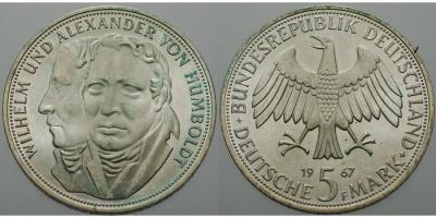 14 сентября  5 марок 1967 г. — памятная монета ФРГ, посвящённая братьям Александру и Вильгельму Гумбольдт.JPG