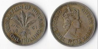 Queen Elizabeth II , Fedration Of Nigeria , 1 Shilling , 1961 , Metal Cupro-Nickel , Obverse.jpg