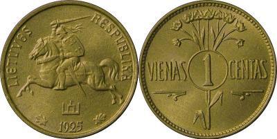 1925 m. laidos monetos1 centas. 1925 m. Vario ir aliuminio lydinys, masė 1,60 g, skersmuo 16,00 mm.jpg