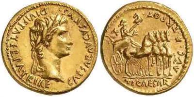 16 ноября 42 год до н. э. Август Тиберий aureus.jpg