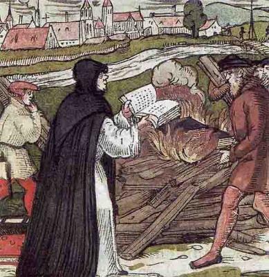 Мартин Лютер сжигает буллу, гравюра на дереве, 1557.jpg