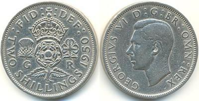 14 декабря 1895  Георг VI Англия,Великобритания, 2 Шиллинга, 1950 год.jpg