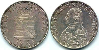 Саксонский талер 1826 года с портретом короля Фридриха Августа I.JPG