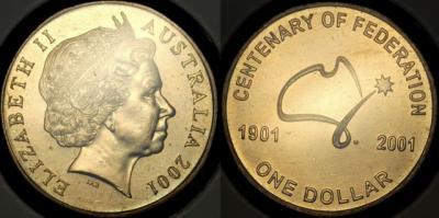 1 января 1901  100-летие Независимости Австралии.2001 1dollar.jpg
