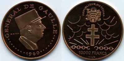 8 января 1959 18-й Президент Франции Шарль де Голль Чад 10000 франков.jpg