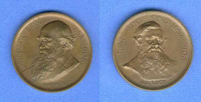 The Darwin-Wallace Medal 2008 (Reverse) Уоллес, Альфред Рассел.jpg