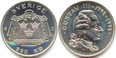 24 января 1746 200 крон 1992 г. — шведская памятная монета, посвящённая 200-летию со смерти Густава III.jpg