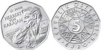 5 апреля 1908 Австрия  5 евро 2008 года  Герберт фон Караян.jpg
