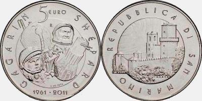 5 евро, Сан-Марино (50 лет первого полёта человека в космос).jpg