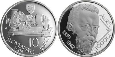 10 мая 1859 Aurel Boreslav Stodola Словения 10 евро 2009 года.jpg