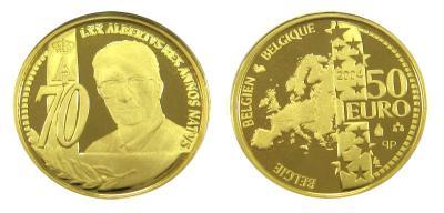 6 июня 1934 70-летию Альберта II, золото, 50 евро номинальная стоимость, Бельгия 2004.jpg