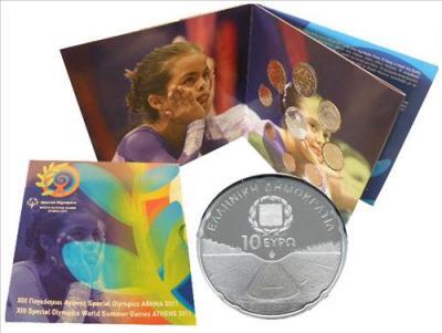 нумизматический набор, содержащий 8 монет регулярного выпуска + серебряную монету Стадион Панатинаикос.jpg