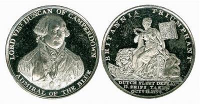 1 июля 1731 года родился Адам Дункан, 1-й виконт Дункан. Медаль Сражение при Кампердауне.jpg