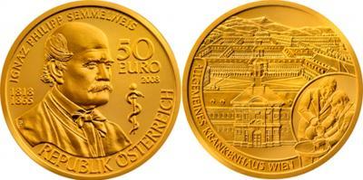 1 июля 1818 50 евро 2008 года  Игнац Филипп Земмельвайс.jpg
