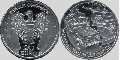 4 апреля 1948 года — План Машалла. Австрия 20 евро 2003.jpg