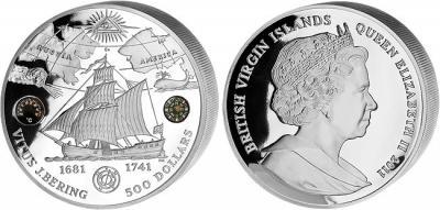 Виргинские о-ва 500 долларов 2011 года «Витус Беринг» серебро.jpg