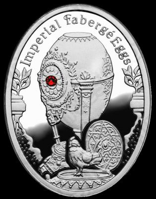 NIUE ISLAND 2012 1$ яйцо Фаберже Часы с кукушкой.JPG