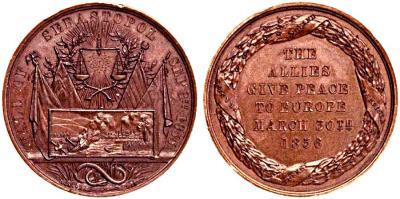Медаль. Бронза. 51 мм.   Крымская война падение Севастополя, 30 марта 1856 года.jpg