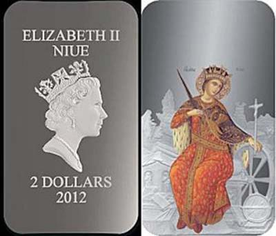 Ниуэ 2012 2$ икона Святая Екатерина - 1 унция серебра 0,999 Proof, 3000 шт. размер 27 х 47 мм.jpg