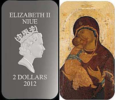 Ниуэ 2012 2$ икона Владимирская - 1 унция серебра 0,999 Proof, 3000 шт. размер 27 х 47 мм.jpg