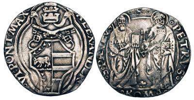 бор  Papal States. Alexander VI Borgia, 1492-1503 AD. AR Grosso (2.60 gm) of Rome.jpg