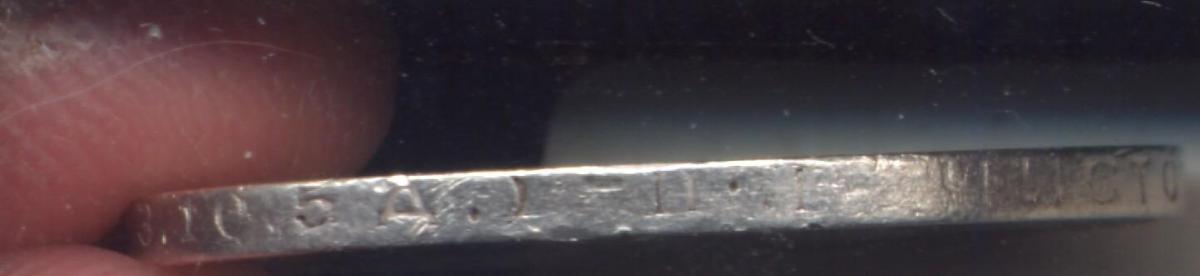Один полтинник 1924 г Лицевая сторона - 2., оборотная сторона - Г, гурт «Чистого серебра 9 грамм (2 З. 10,5 Д.) ПЛ»