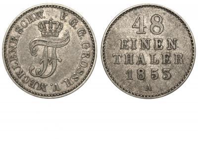 Германия - Мекленбург-Шверин - 1-48 талера 1853 А.jpg