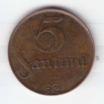 5 сантимов 1922 без подписи Зариньша 1.jpg