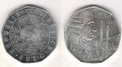 Австрия 5 евро 2009 Дж.Гайдн.jpg
