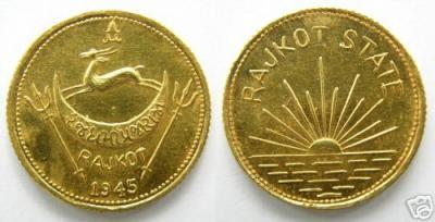 Gold India Princely state Rajkot 1 mohur 1945.jpg