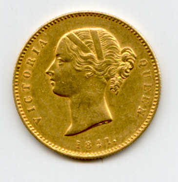 British India 1841, Gold Mohur, Victoria+.jpg