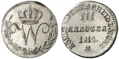 3 Kr Wuert 1818 O.jpg