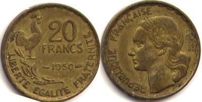 20 франков, 1950-1954. Алюминиевая бронза.jpg