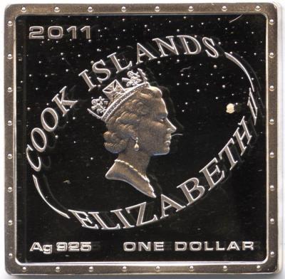 1 доллар. Острова Кука. Первый человек в космосе. Коробка, сертификат 2011.jpg
