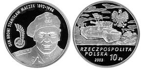31 марта 1892 года родился - Станислав Мачек(Польша,10 злотых, 2003 года).jpg