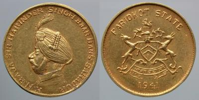 Faridkot, Harinder Singh (1918-1949), 13 mohur, 1941.JPG