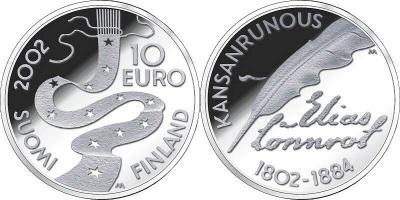 9 апреля 1802 года родился - Элиас Лённрот(Финляндия, 10 евро 2002 года).jpg