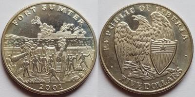12 апреля 1861 года  — Сражение за форт Самтер(Либерия 5 долларов 2001).jpg