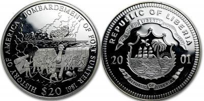 12 апреля 1861 года  — Сражение за форт Самтер(Либерия 20 долларов 2001).jpg