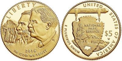 21 апреля 1838 года родился — Джон Мьюр(5 долларов золото 2016).jpg