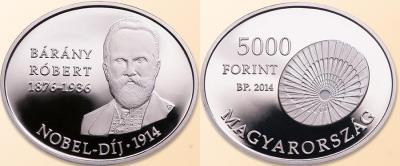22 апреля 1876 года родился — Роберт Барани (Венгрия 5000 форинтов 2014).jpg