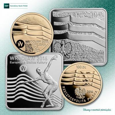 Польша выпускает 4 мая 2016 года две монеты из серебра и золота номиналом 10 и 100 злотых, посвящённых городу Вроцлаву..jpg