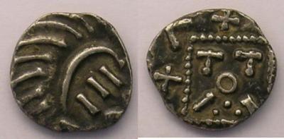 Merovingische Münzen 710-765 n. Chr Abramson E130 var. p.86 - Poids 1,11 g.jpg