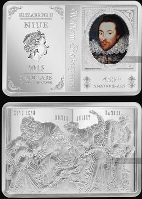 26 апреля 1564 года родился - Уильям Шекспир(Ниуэ 2 доллара 2014).jpg