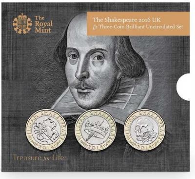 26 апреля 1564 года родился - Уильям Шекспир(2 фунта Великобритания 2016 - Шекспир. 3 монеты).jpg