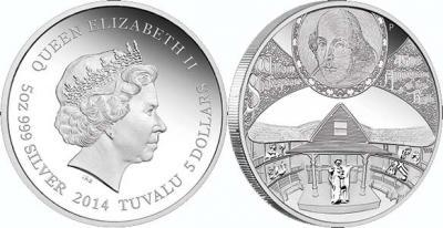 26 апреля 1564 года родился - Уильям Шекспир(Тувалу 5 долларов 2014).jpg