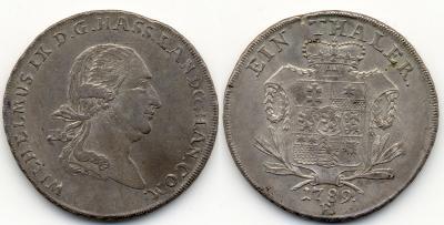 Hessen Hessen-Kassel, Landgrafschaft Wilhelm IX. (I.), 1785-1803, seit 1760 Graf von Hanau, 1803-1821 Kurfürst Taler 1789, Kassel, Dav. 2307.jpg