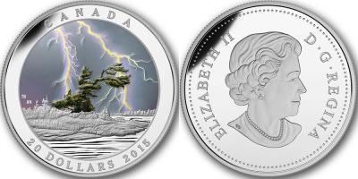 Канада 20 долларов 2015 серии Природные явления - Летний шторм Пруф.jpg