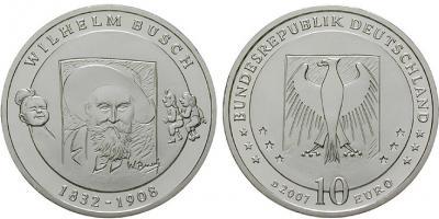 15 апреля 1832 года родился - Генрих Христиан Вильгельм Буш(Германия, 10 евро 2007 года).jpg